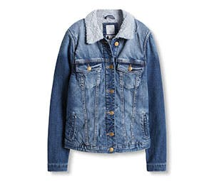 Denim jacket with woven fur collar