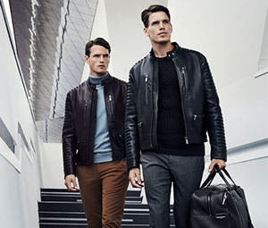 On men's blazer, trousers and leather jackets